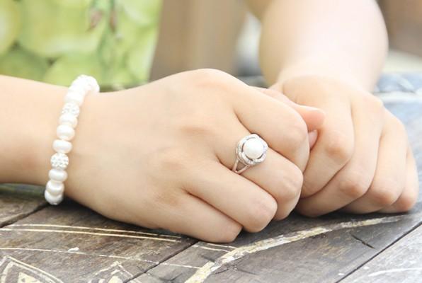 Nhẫn ngọc trai bạc cao cấp N1404