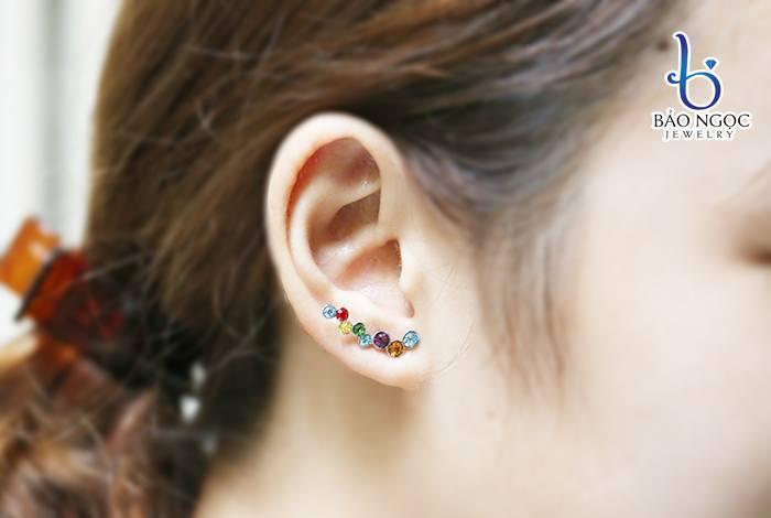 Bông tai bạc nữ đính đá nhiều màu B-3002