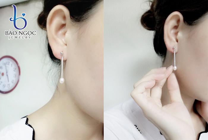 Bông tai bạc ngọc trai dài cho nữ B-1802